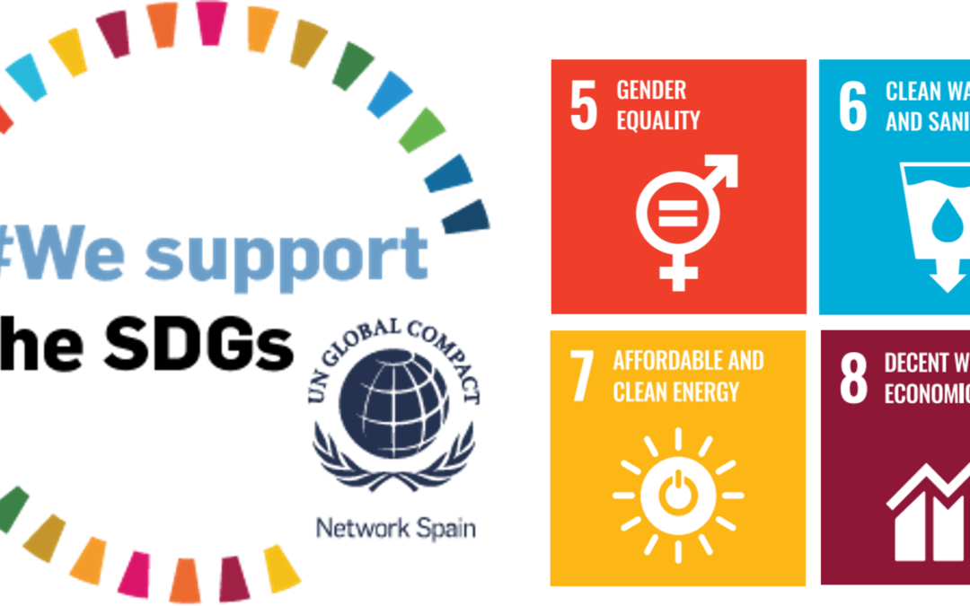 At Globalvia we support SDGs!  We introduce you about our actions in the SDGs 5,6,7 & 8!